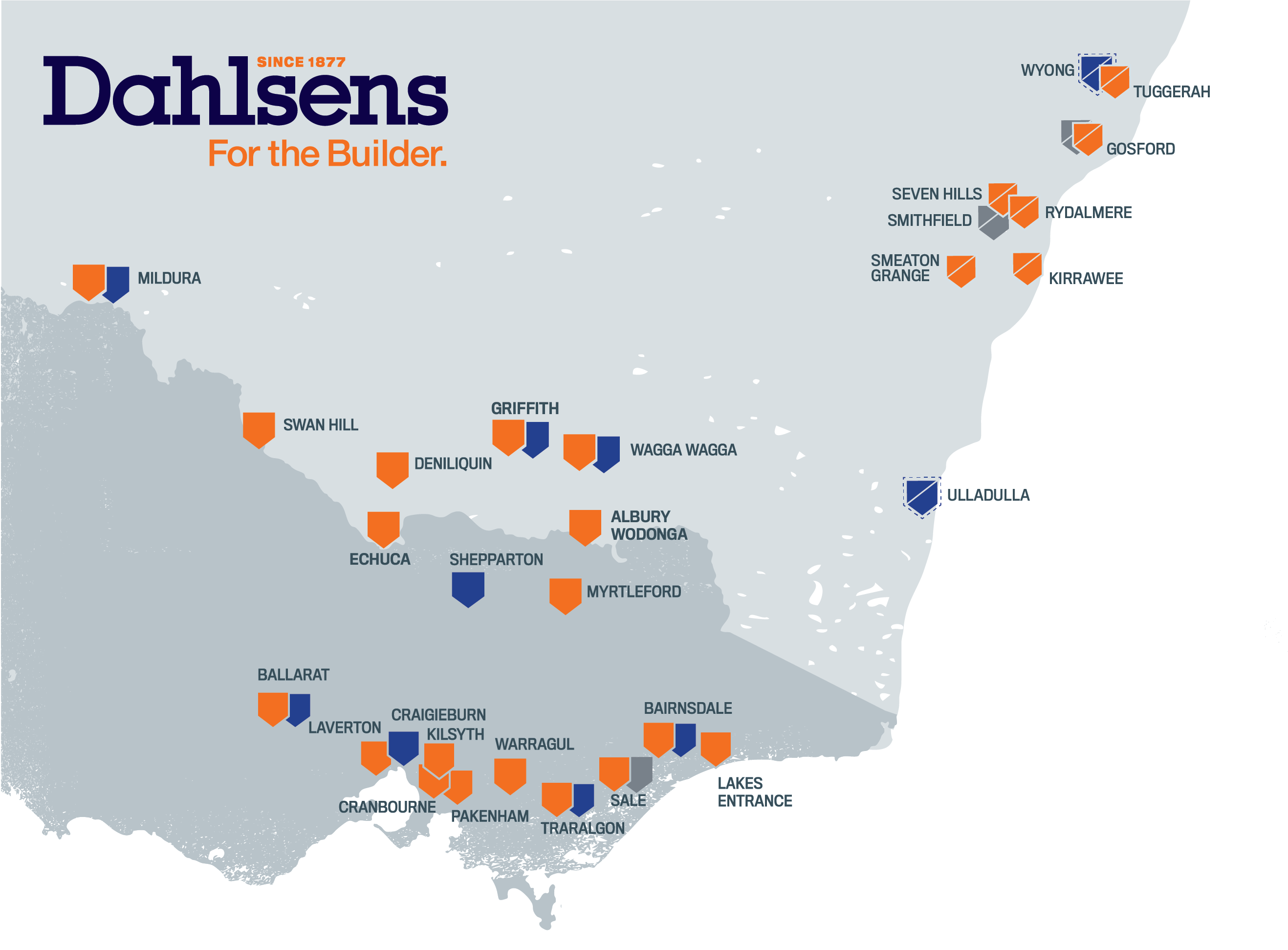 Dahlsens Midcoast locations map